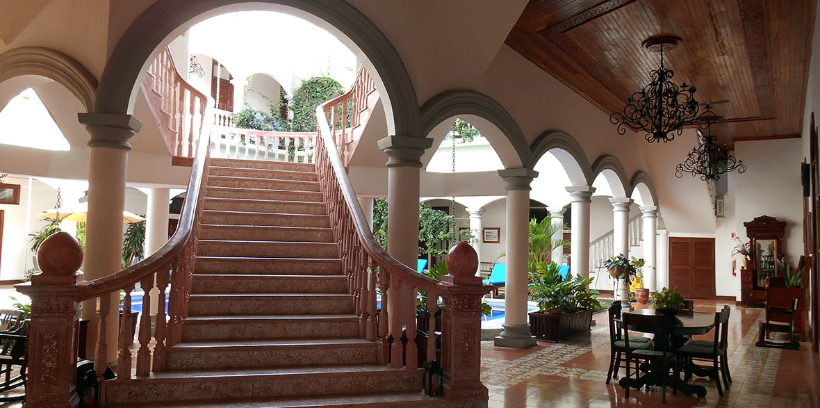marble staircase at Hotel Real la Merced in Granada