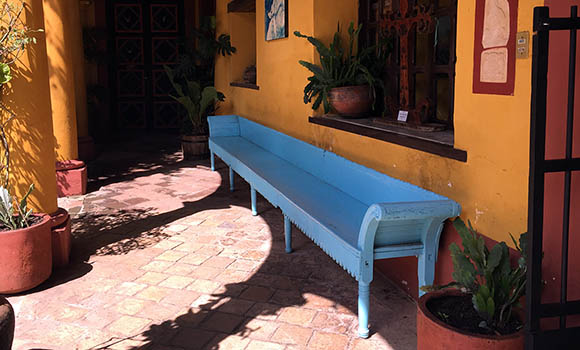 courtyard bench at casa na bolom