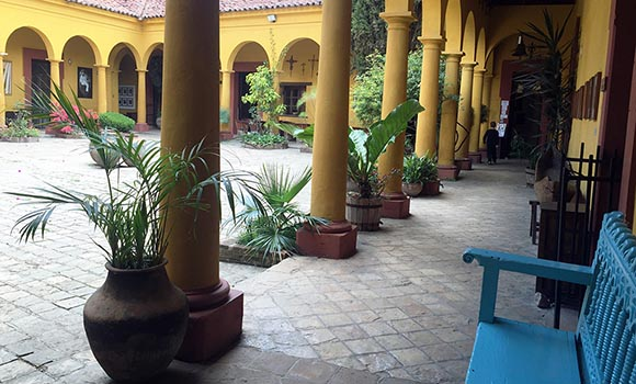 na bolom courtyard in chiapas mexico