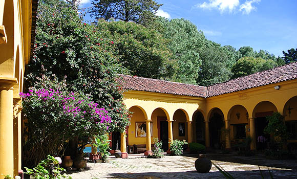 courtyard at casa na bolom in chiapas