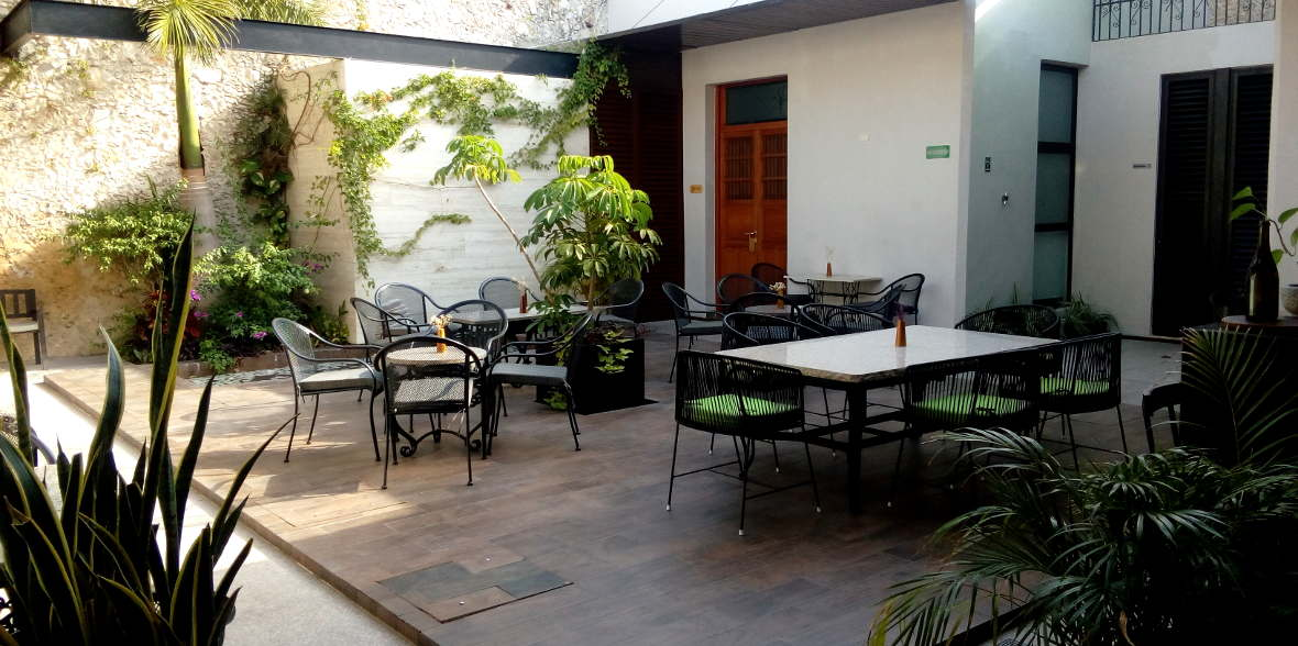 central outdoor space at Ya'ax Hotel in Merida